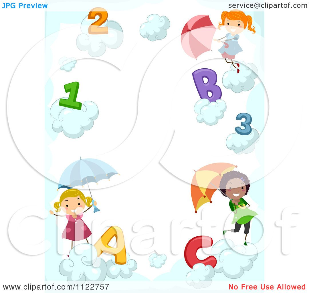 cartoon of a border of children with letters numbers and umbrellas