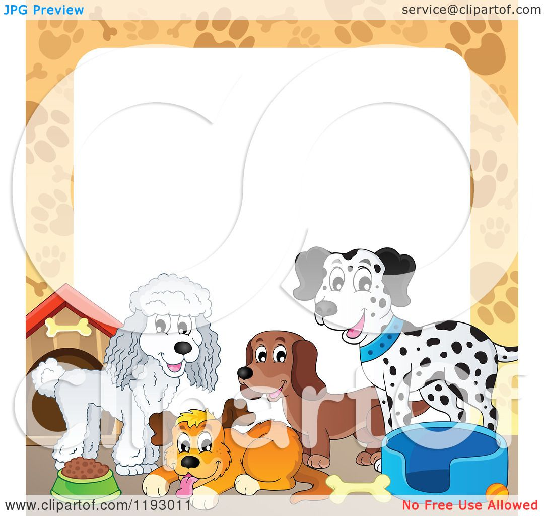 Cartoon Of A Border Of Dogs And Supplies With Paw Prints