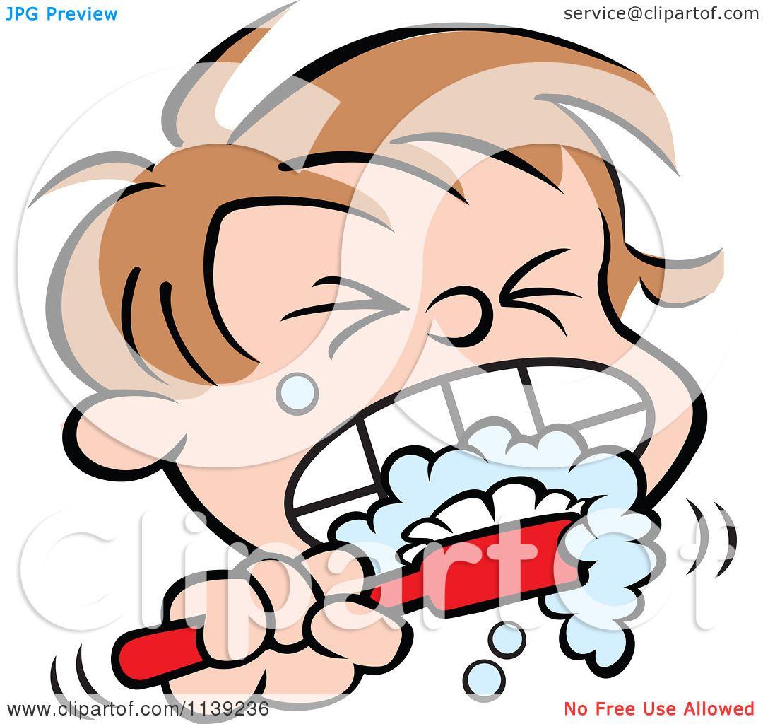 Cartoon Of A Boy Aggressively Brushing His Teeth - Royalty ...