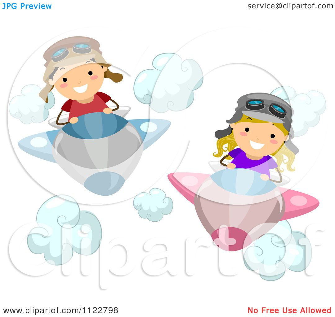 cartoon of a boy and flying airplanes royalty free vector
