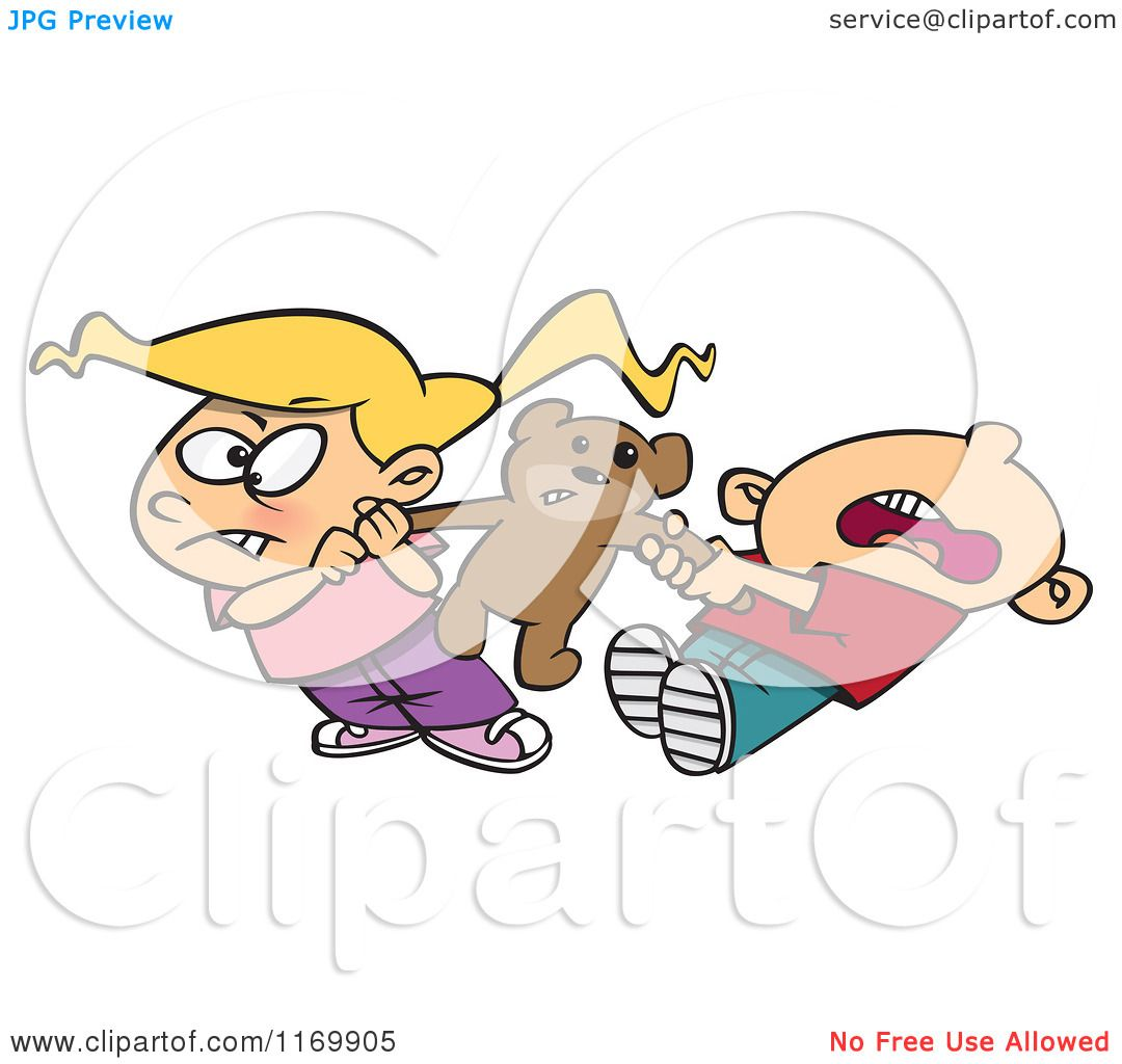 Cartoon of a Boy and Girl Quarreling over Sharing a Teddy ...