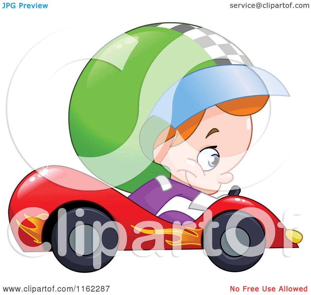 cartoon of a boy driving a race car royalty free vector clipart
