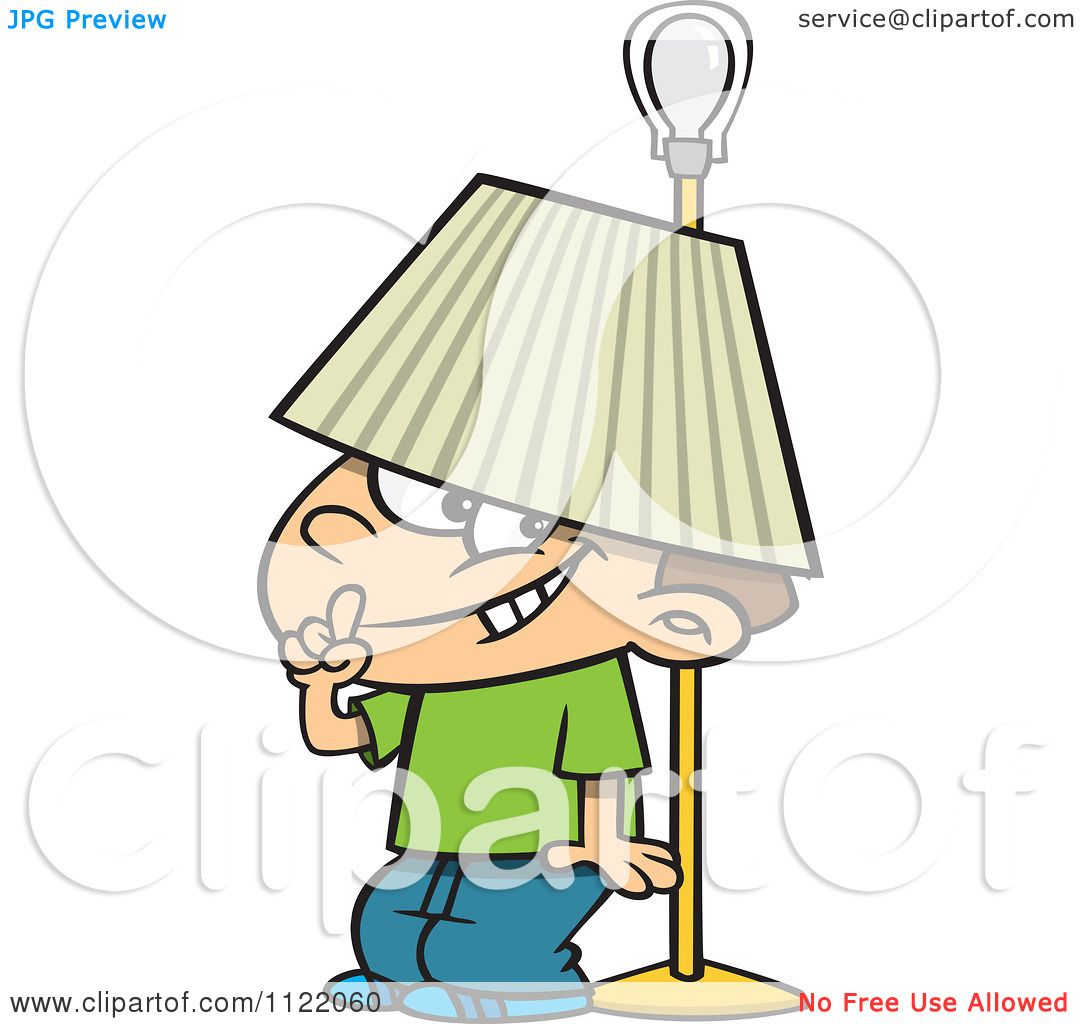 Cartoon Of A Boy Hiding Under A Lamp Shade - Royalty Free Vector ... for Lamp Shade Clip Art  146hul