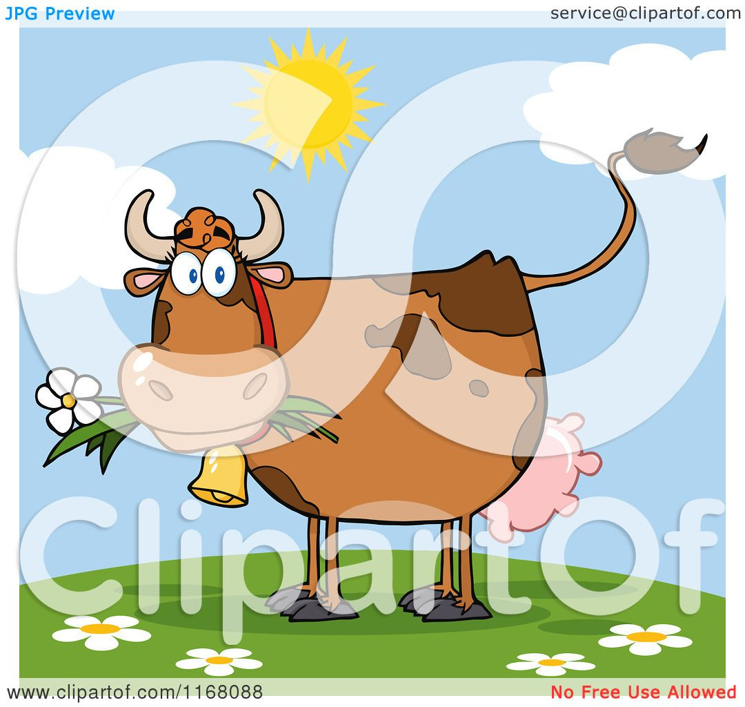cartoon of a brown cow eating a daisy flower on a hill royalty