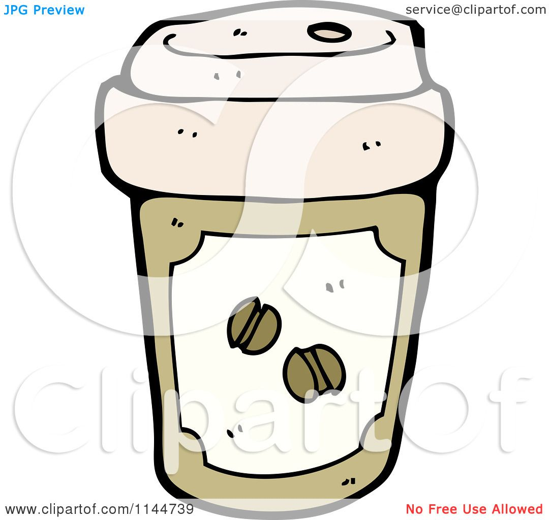 Cartoon Of A Brown To Go Coffee Cup 2