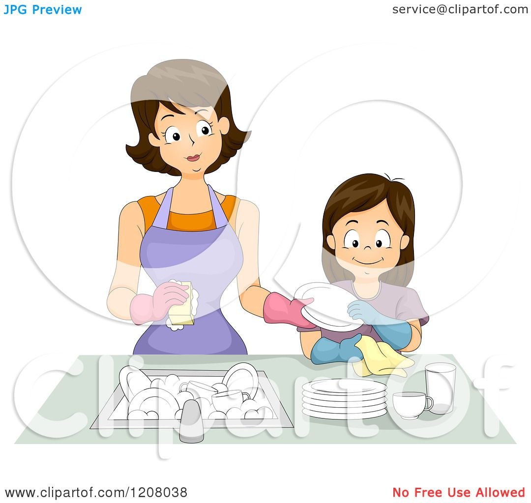Best Washing Dishes Illustrations Royalty Free Vector: Cartoon Of A Brunette Caucasian Mother And Daughter