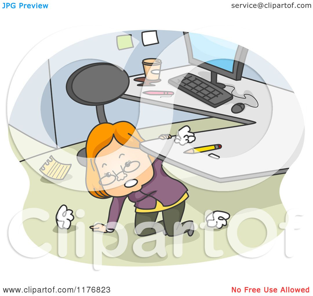 Cartoon of a Businesswoman Kneeling Under Her Desk and ...