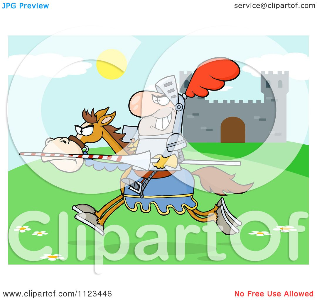 cartoon of an outlined charging jousting knight holding a lance