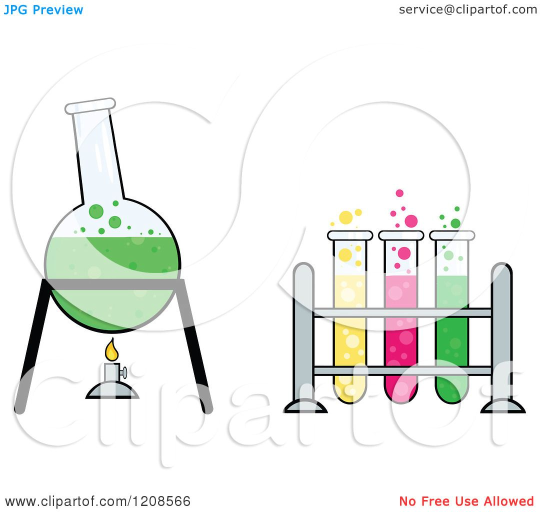cartoon of a chemistry or science laboratory experiment with test tubes and  a boiling flask -