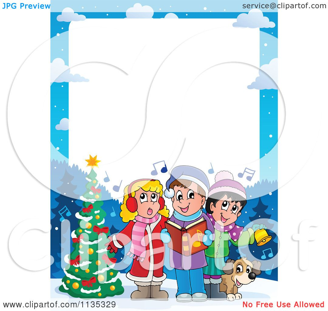Cartoon Of A Children Singing Christmas Carols Frame - Royalty ...