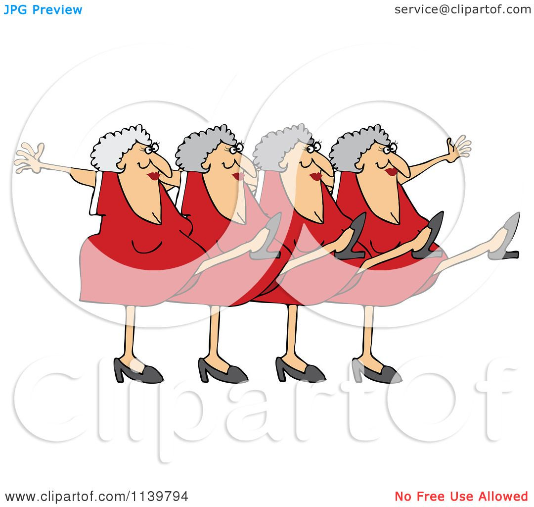 Cartoon Of A Chorus Line Of Old Ladies Dancing The Can Can ...