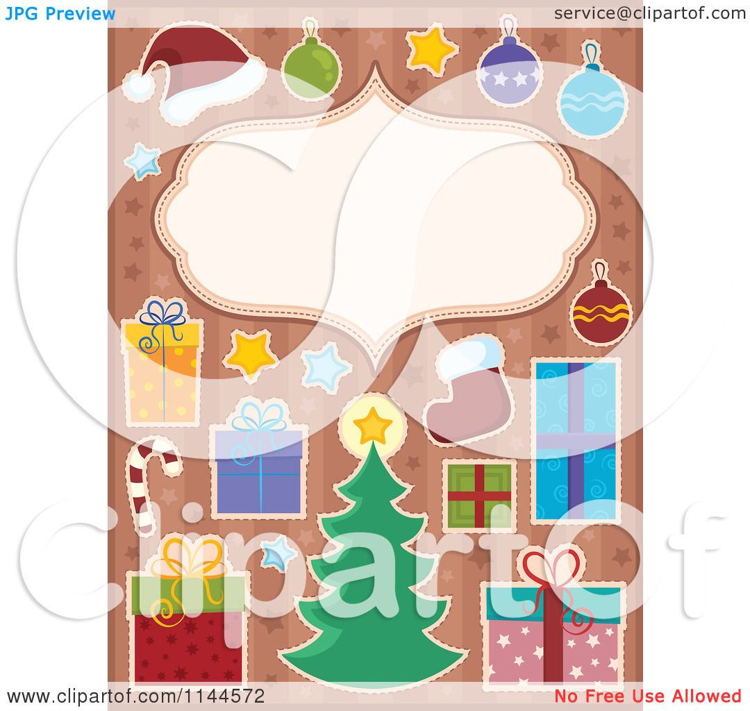 cartoon of a christmas frame surrounded by holiday items on starry stripes royalty free vector clipart by visekart - Holiday Cartoons Free