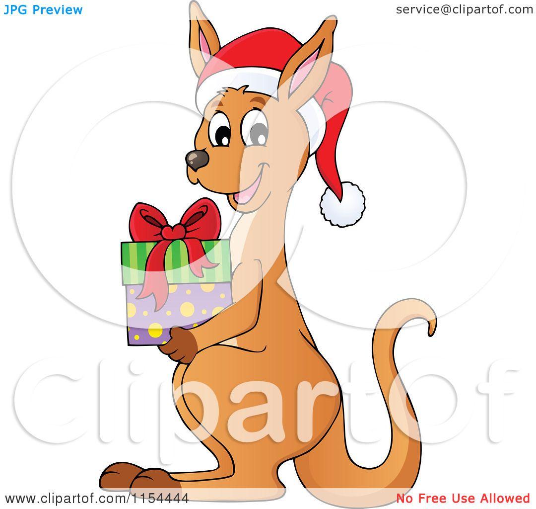 Cartoon of a Christmas Kangaroo Holding a Gift - Royalty ...