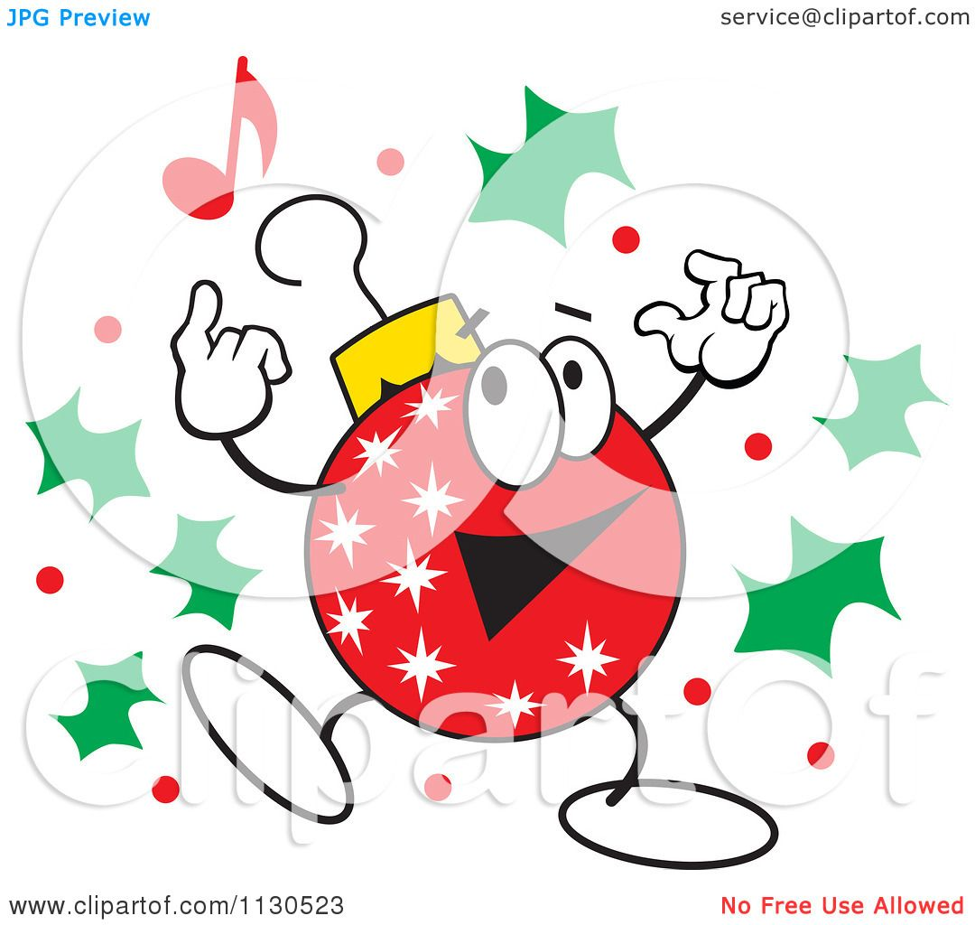 Christmas Dancing Cartoon.Cartoon Of A Christmas Ornament Character Dancing With Holly