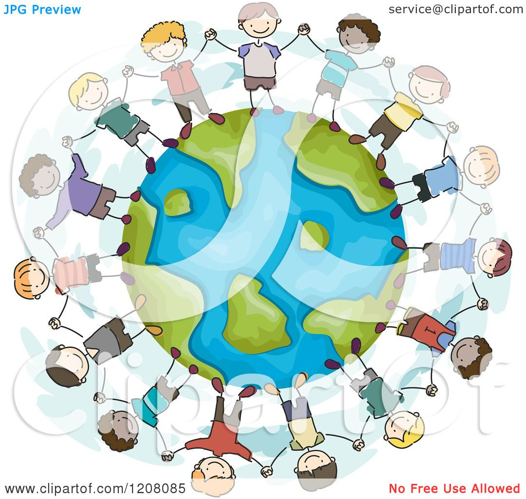 Cartoon of a Circle of Diverse Boys Holding Hands Around ...