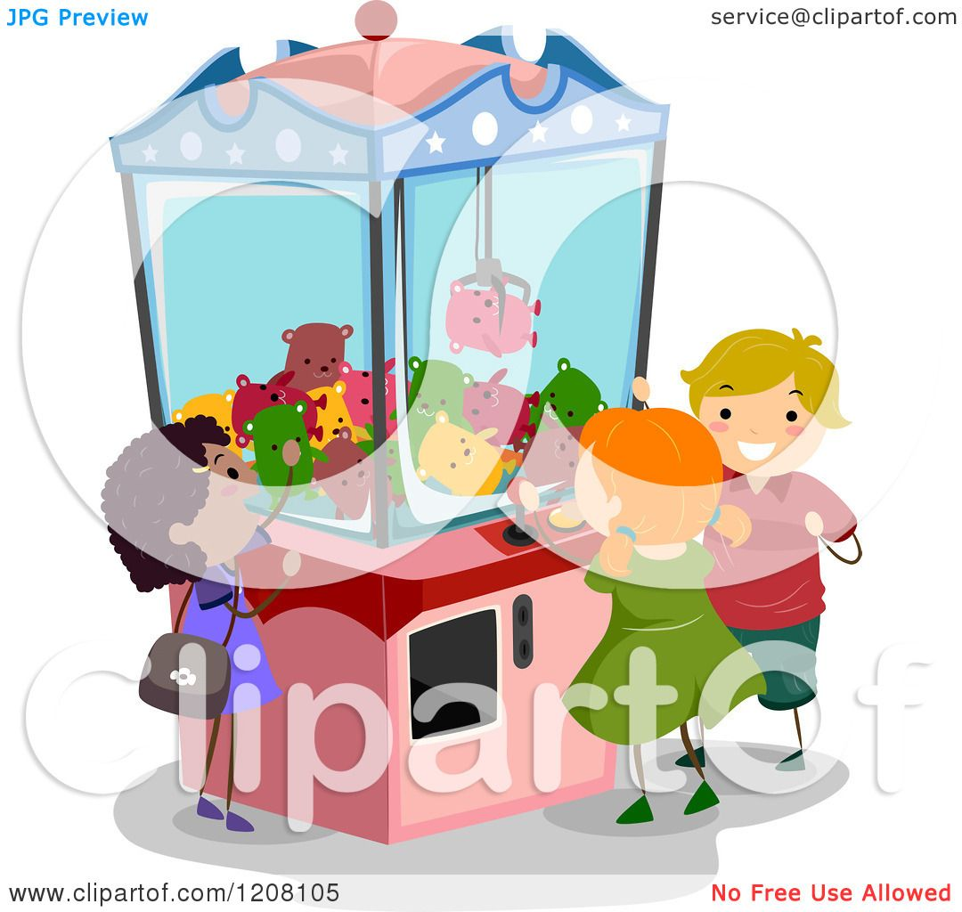 Cartoon Of A Claw Machine And Diverse Children Royalty