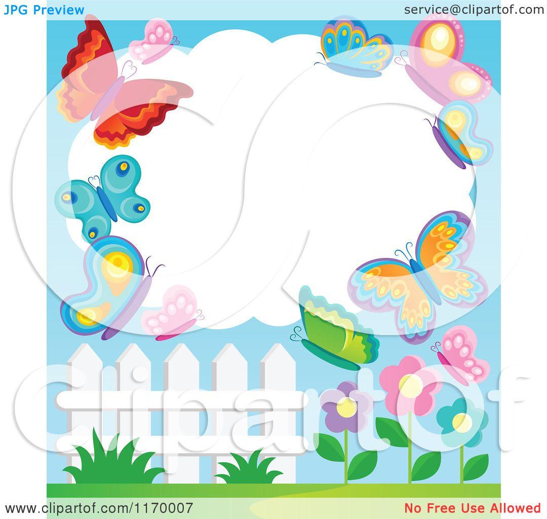 Cartoon of a Cloud Frame with Butterflies