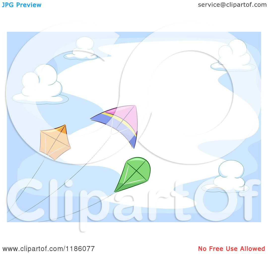 Cartoon of a Cloud Frame with Flying Kites - Royalty Free Vector ...