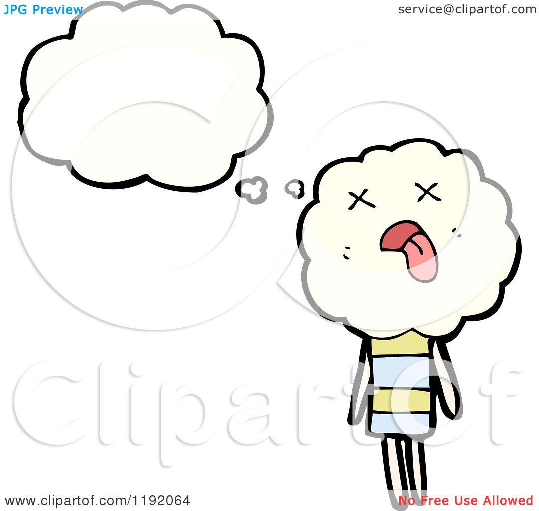 Cartoon Image of a Person Thinking Cartoon of a Cloud Person