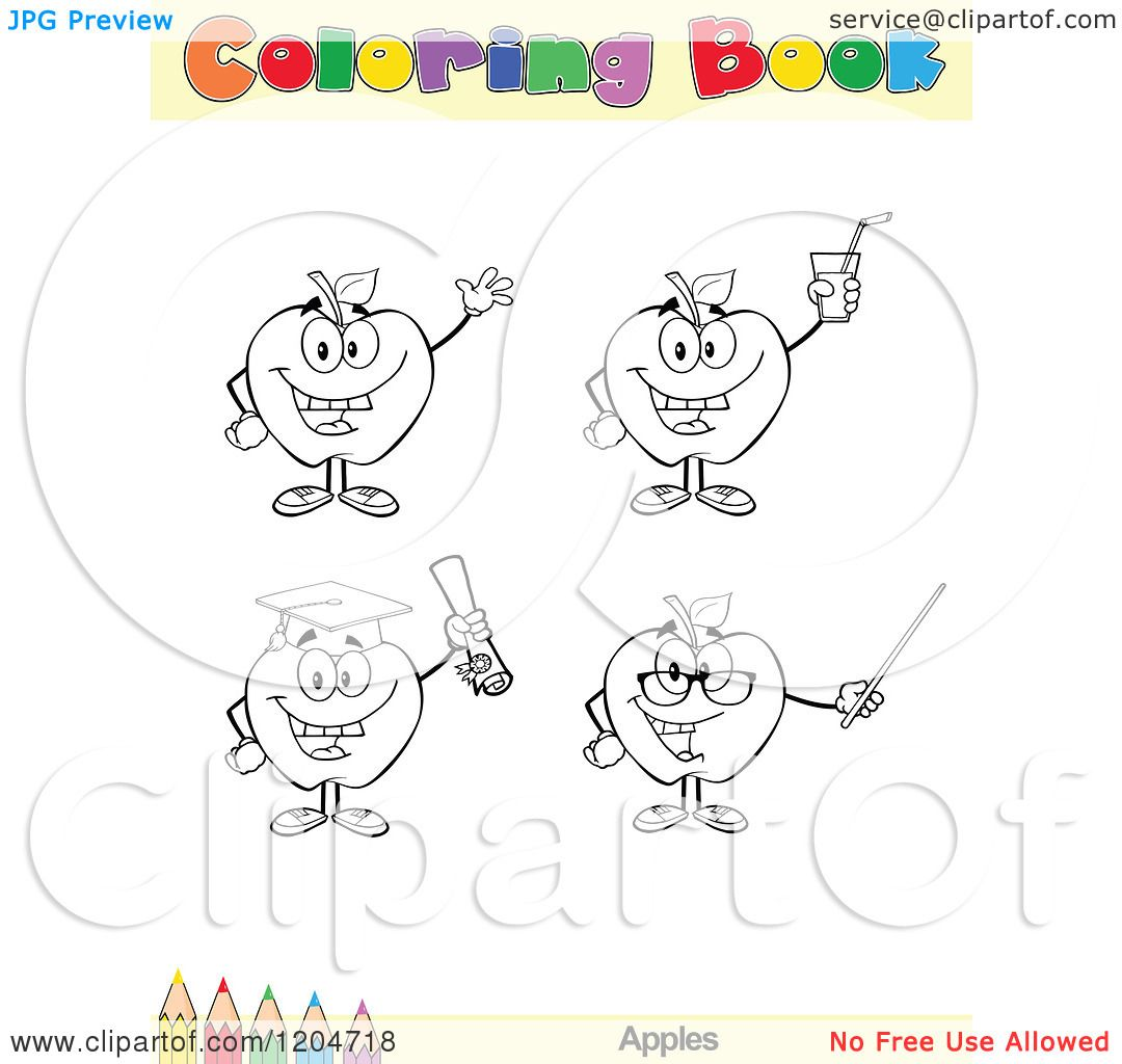 Coloring book outlines - Cartoon Of A Coloring Book Page With Apple Outlines Text And A Colored Pencil Border Royalty Free Vector Clipart By Hit Toon