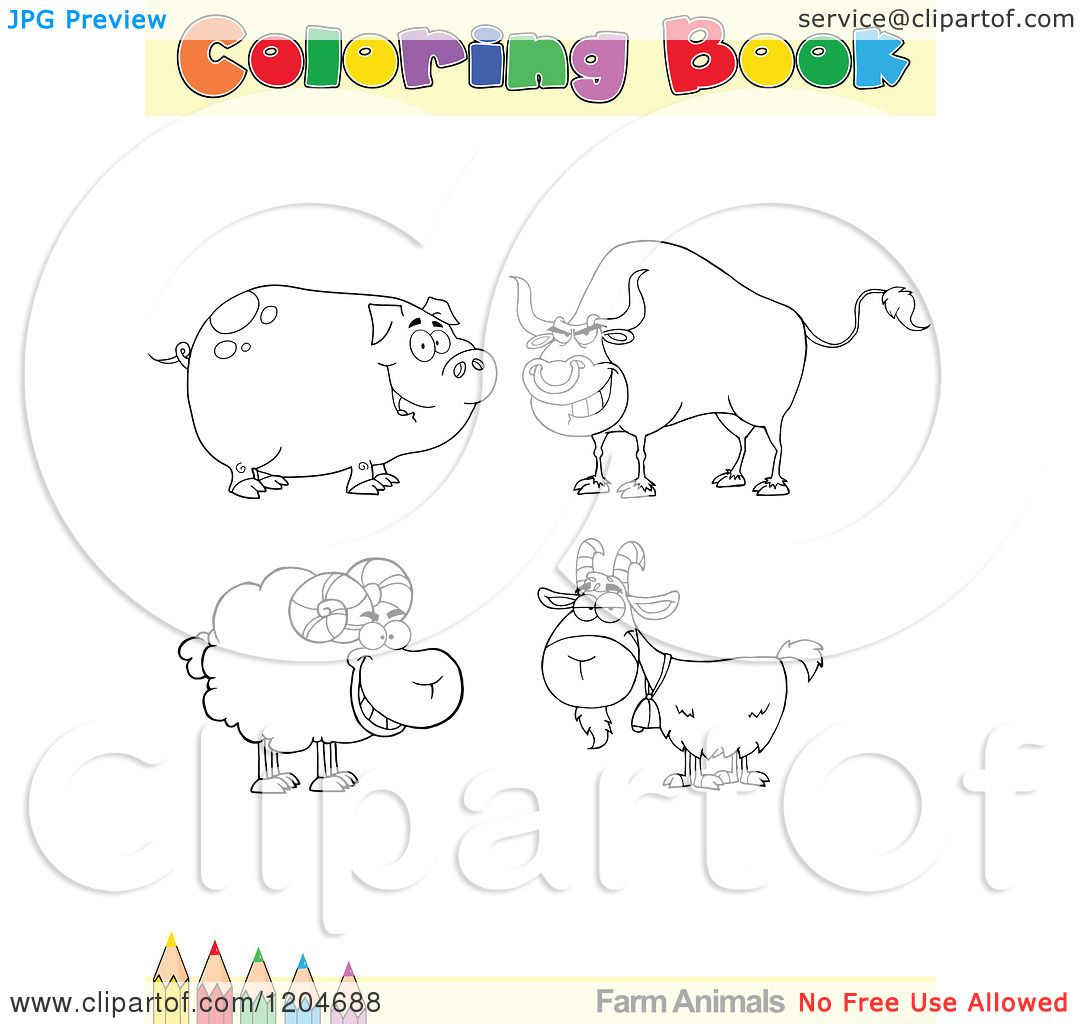 Coloring book pages farm animals - Cartoon Of A Coloring Book Page With Farm Animal Outlines Text And A Colored Pencil Border Royalty Free Vector Clipart By Hit Toon