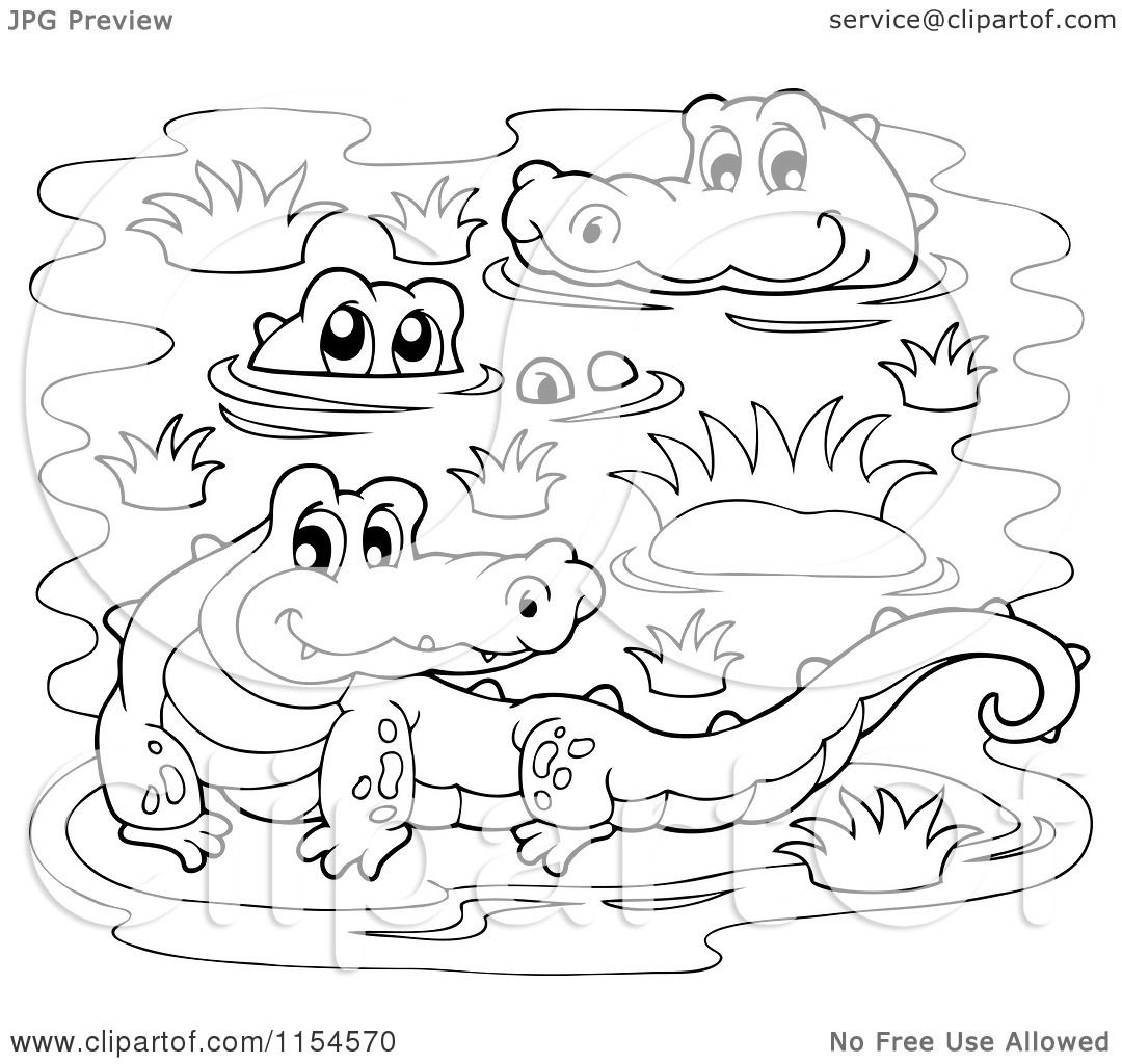 cartoon of a coloring page of crocodiles in a swamp royalty free vector illustration by. Black Bedroom Furniture Sets. Home Design Ideas