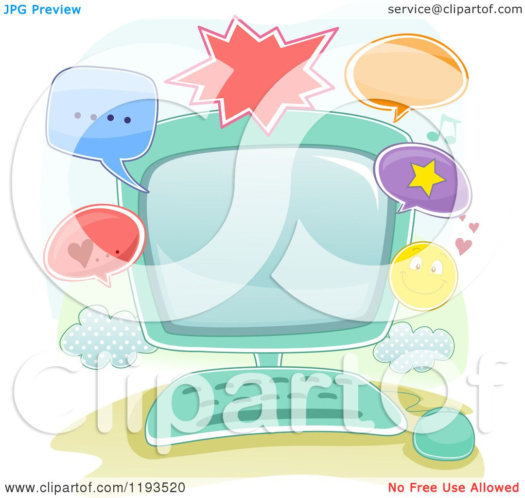 71482efe04 Cartoon of a Computer and Online Communication Frame - Royalty Free Vector  Clipart by BNP Design