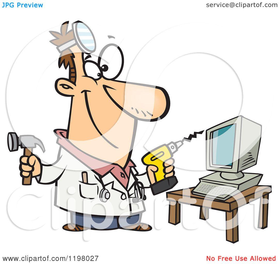 Computer Cartoons Free Cartoon of a Computer Repair