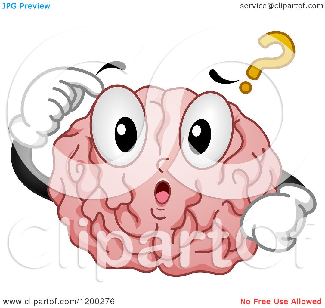 Does Question Mark Go Inside Quotes: Cartoon Of A Confused Brain Mascot With A Question Mark