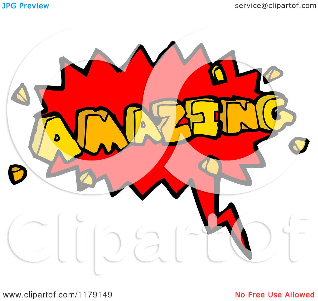 Amazing Clip Art: Cartoon Of A Conversation Bubble With The Word AMAZING