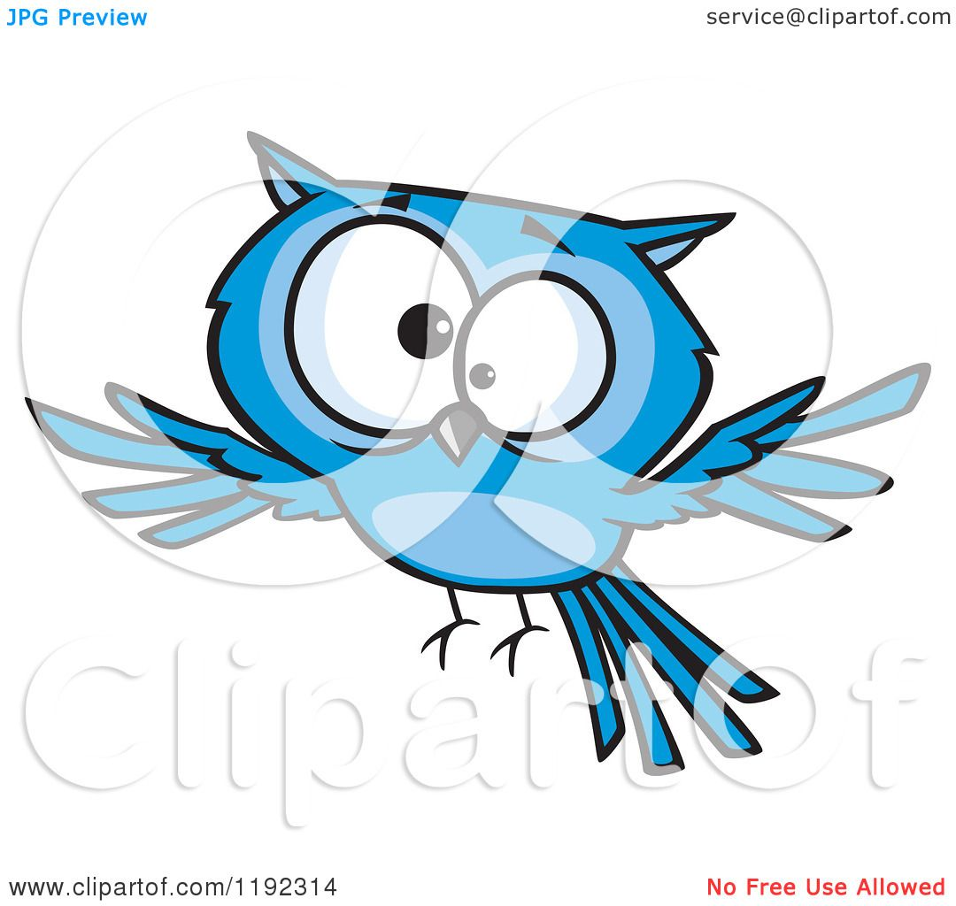 Cartoon of a Cross Eyed Blue Owl Flying - Royalty Free ...