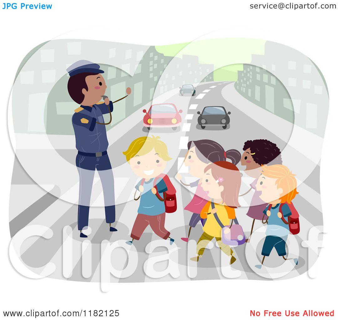 Cartoon of a Crossing Guard Advising Children Crossing an Urban ...