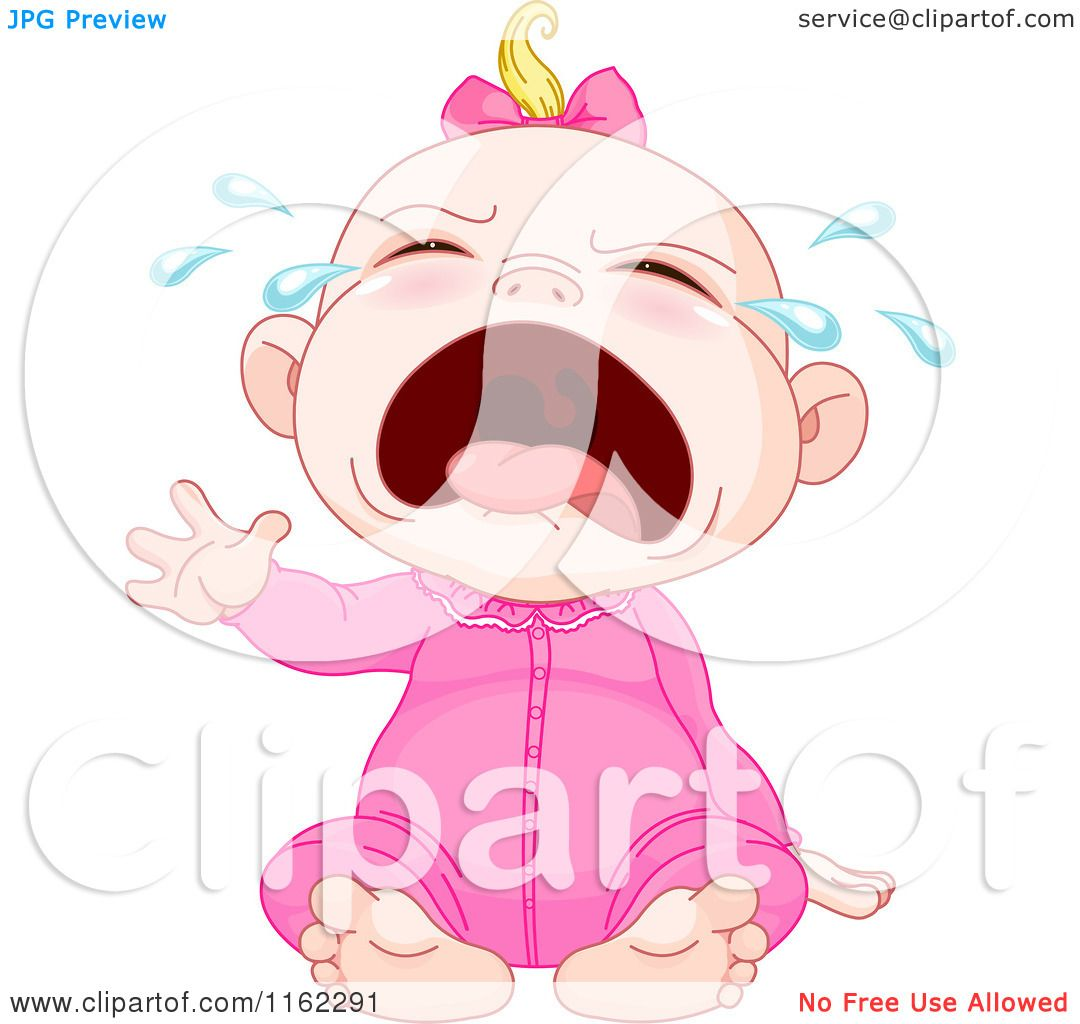 Cartoon of a Crying Blond Caucasian Baby Girl - Royalty ...