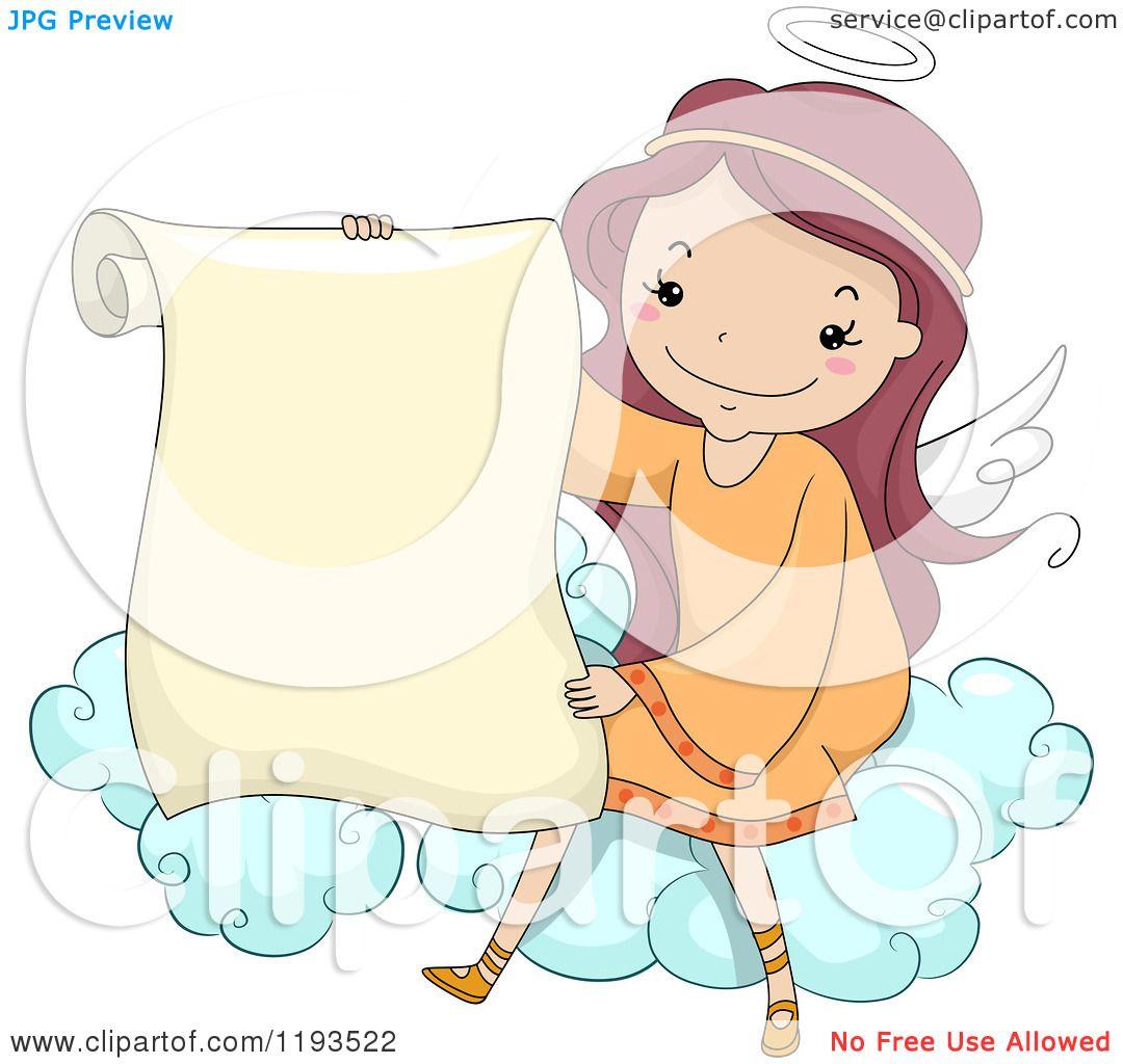 Cartoon of a Cute Angel Girl Holding a Scroll on a Cloud ...