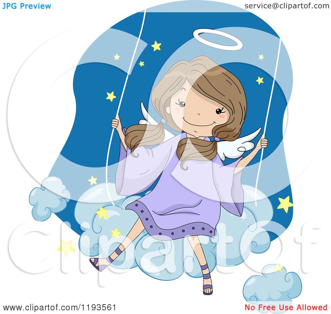 Cartoon Of A Cute Angel Girl Swinging On A Cloud Royalty