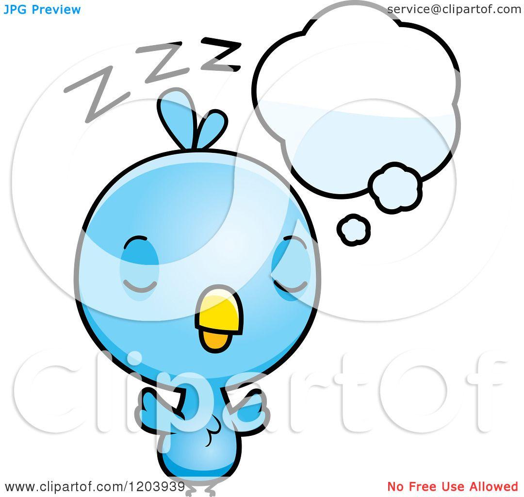 Cartoon Of A Cute Baby Blue Bird Sleeping Royalty Free