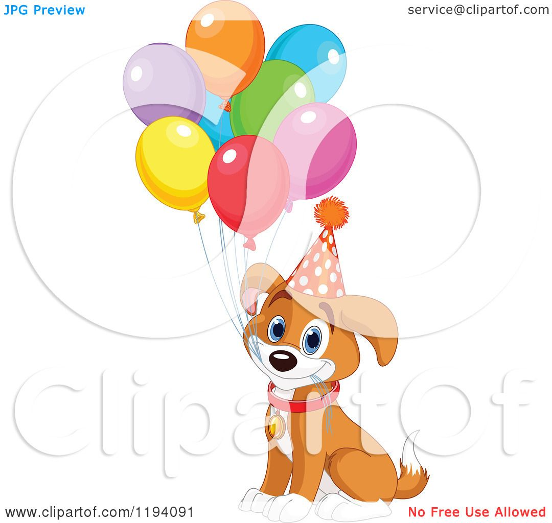 Cartoon of a Cute Birthday Beagle