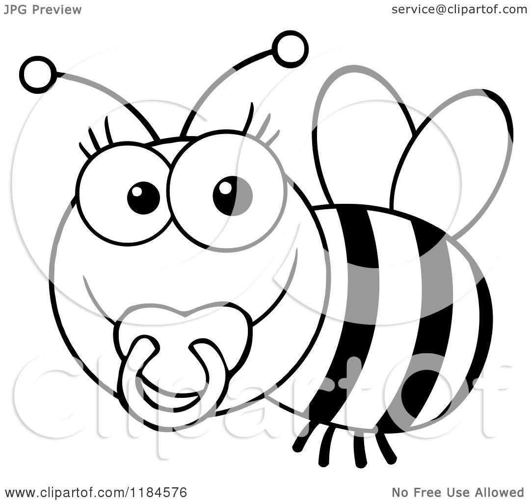 Cartoon Of A Cute Black And White Baby Bee With A Pacifier - Royalty Free Vector -2343