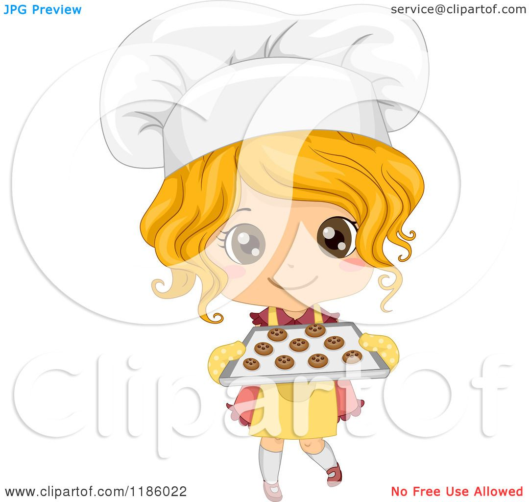 Cartoon of a Cute Blond Caucasian Baker Girl Holding Fresh ...