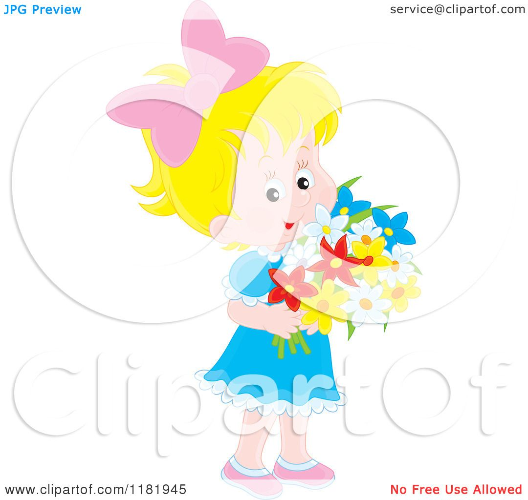 Cartoon of a cute blond girl holding a bouquet of flowers royalty cartoon of a cute blond girl holding a bouquet of flowers royalty free vector clipart by alex bannykh izmirmasajfo Choice Image