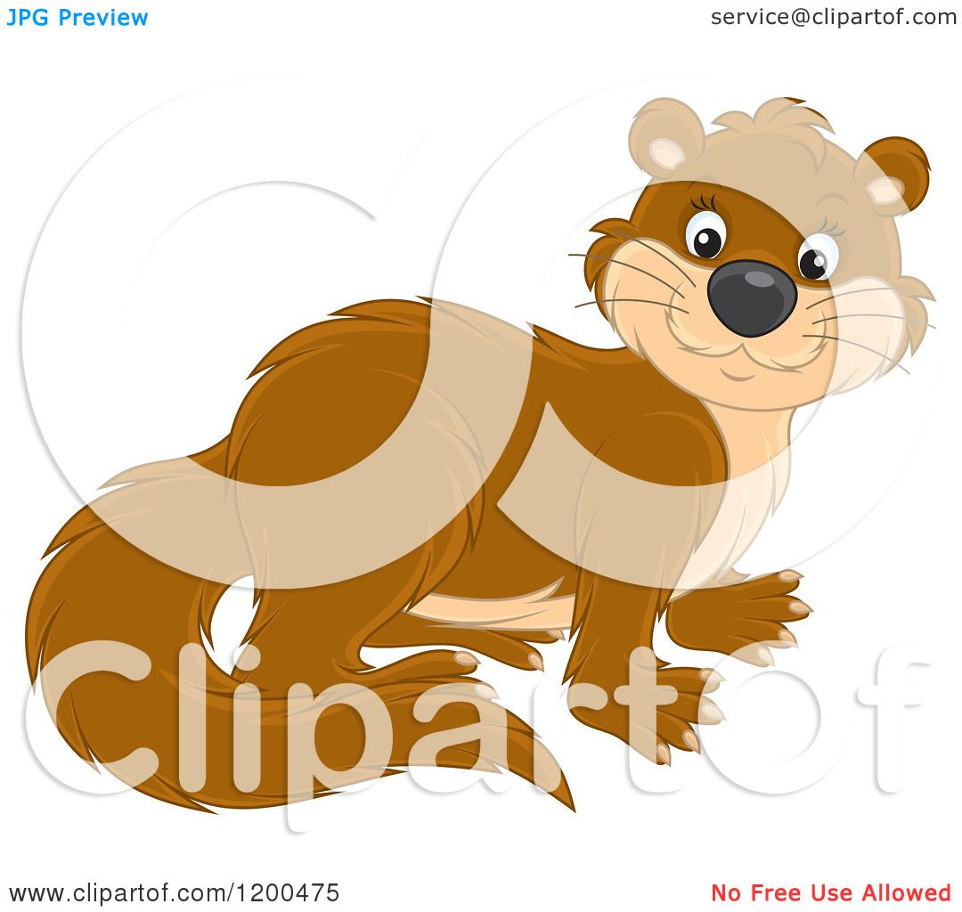 Cartoon of a Cute Brown Otter - Royalty Free Vector ...