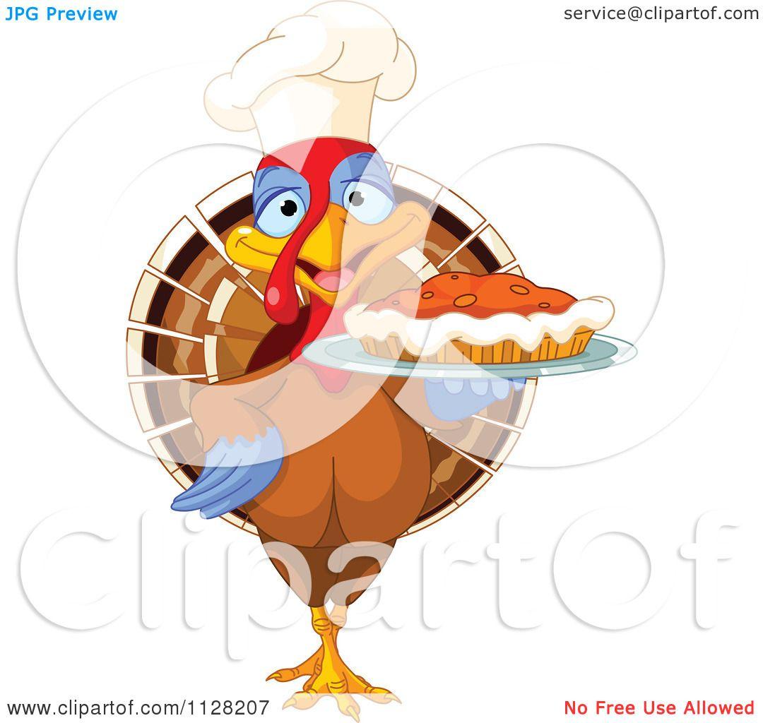 cartoon of a cute chef turkey bird serving a thanksgiving pumpkin