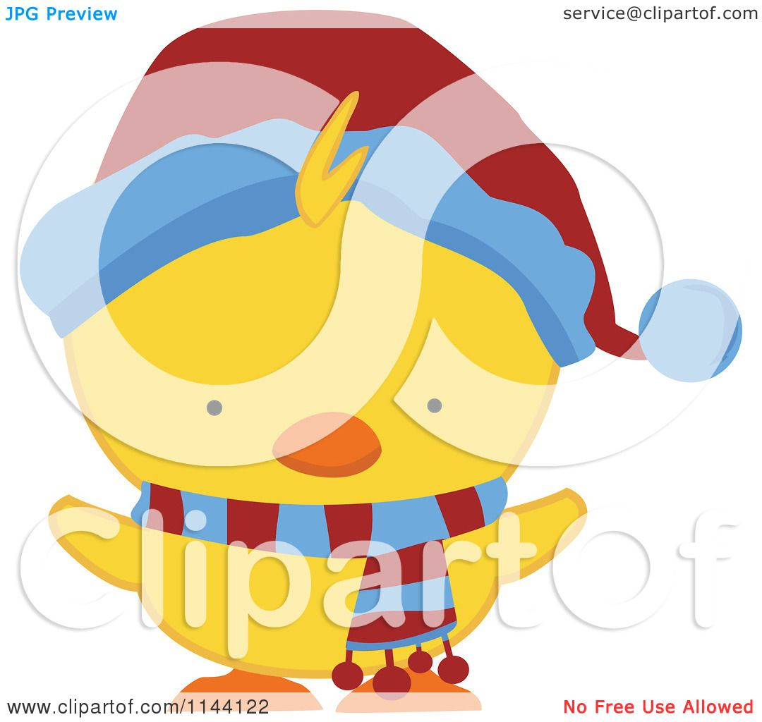 Cartoon of a Cute Christmas Duckling or Chick in a Scarf and Hat 2 ...