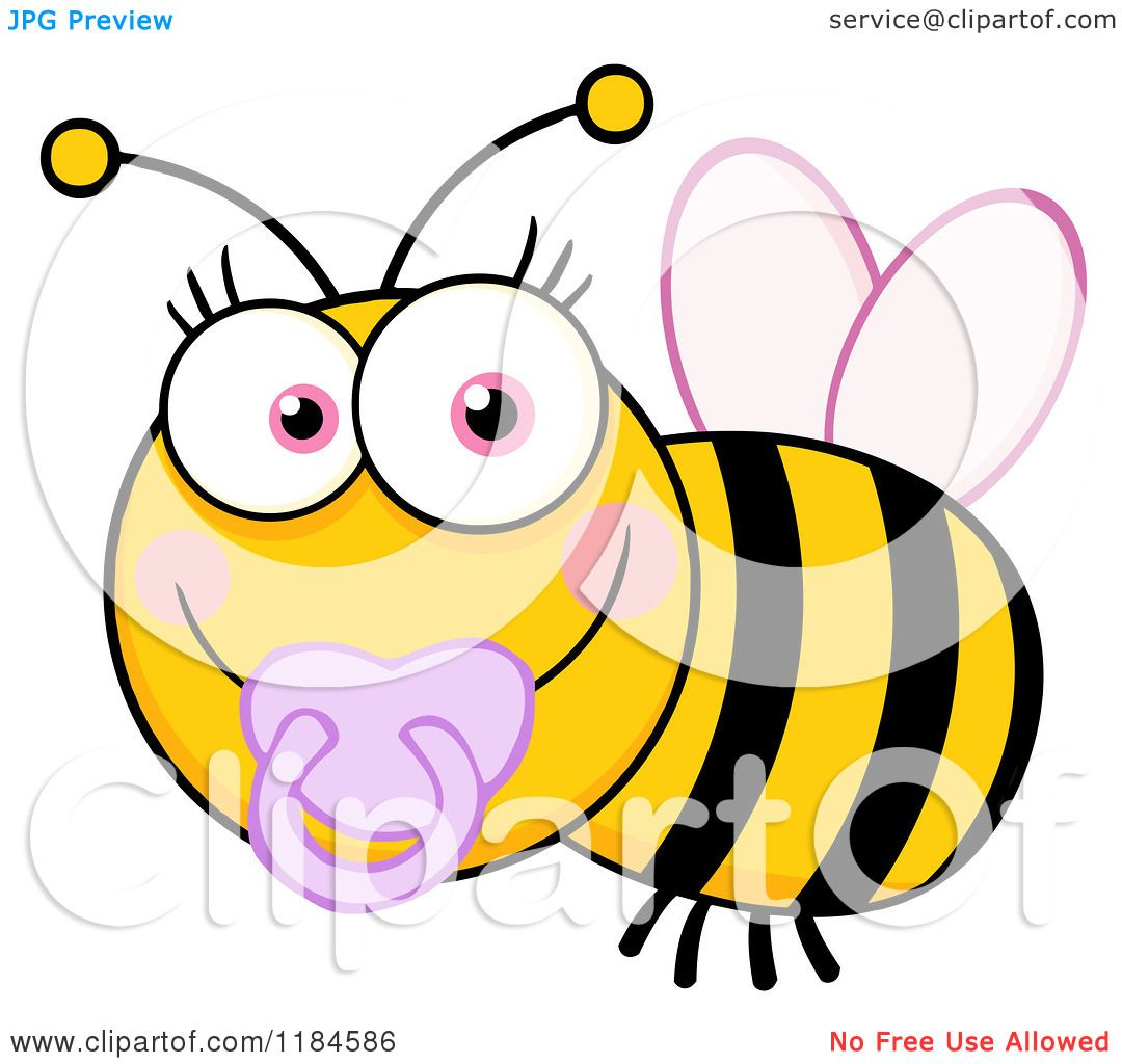 Cartoon of a Cute Female Baby Bee with a Pacifier - Royalty Free ...