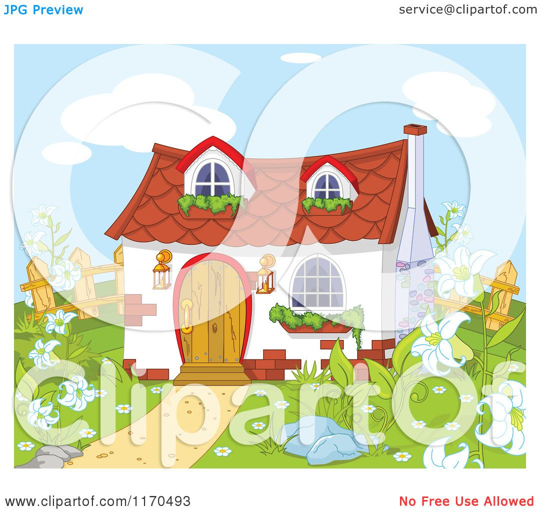 Cartoon of a Cute Gnome Cottage in a Garden - Royalty Free Vector ...