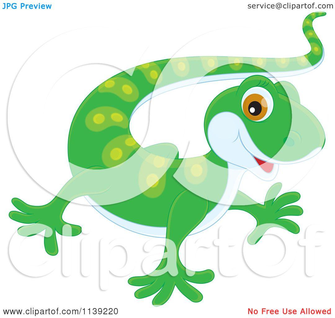cartoon of a cute green baby gecko - royalty free vector clipart