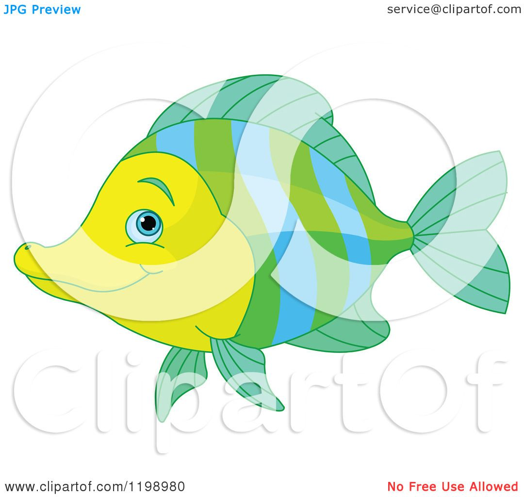 Cartoon of a Cute Green Blue and Yellow Marine Fish - Royalty Free ...