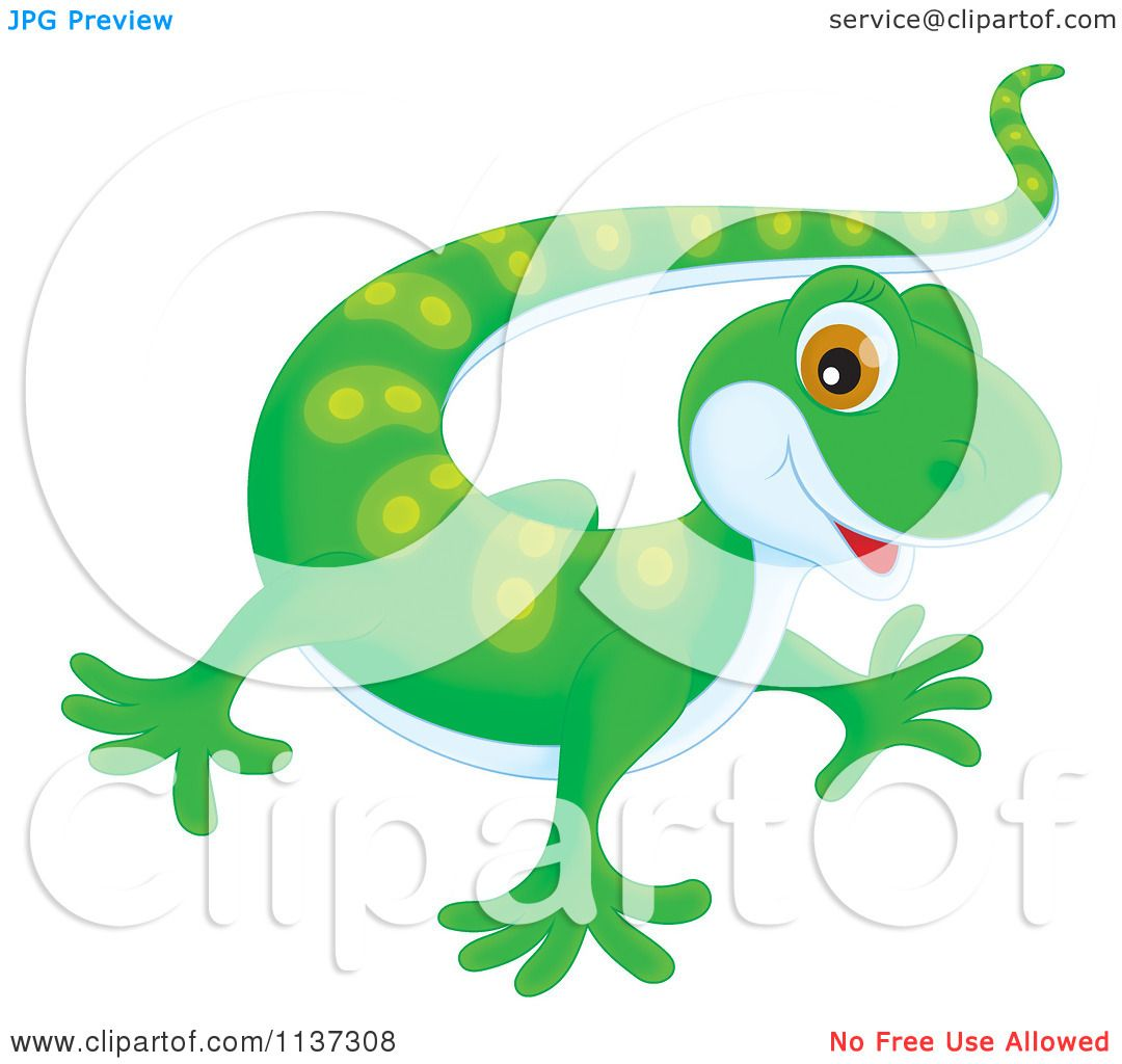 Cartoon Of A Cute Green Gecko - Royalty Free Clipart by Alex ... for Cute Lizard Clipart  45gtk
