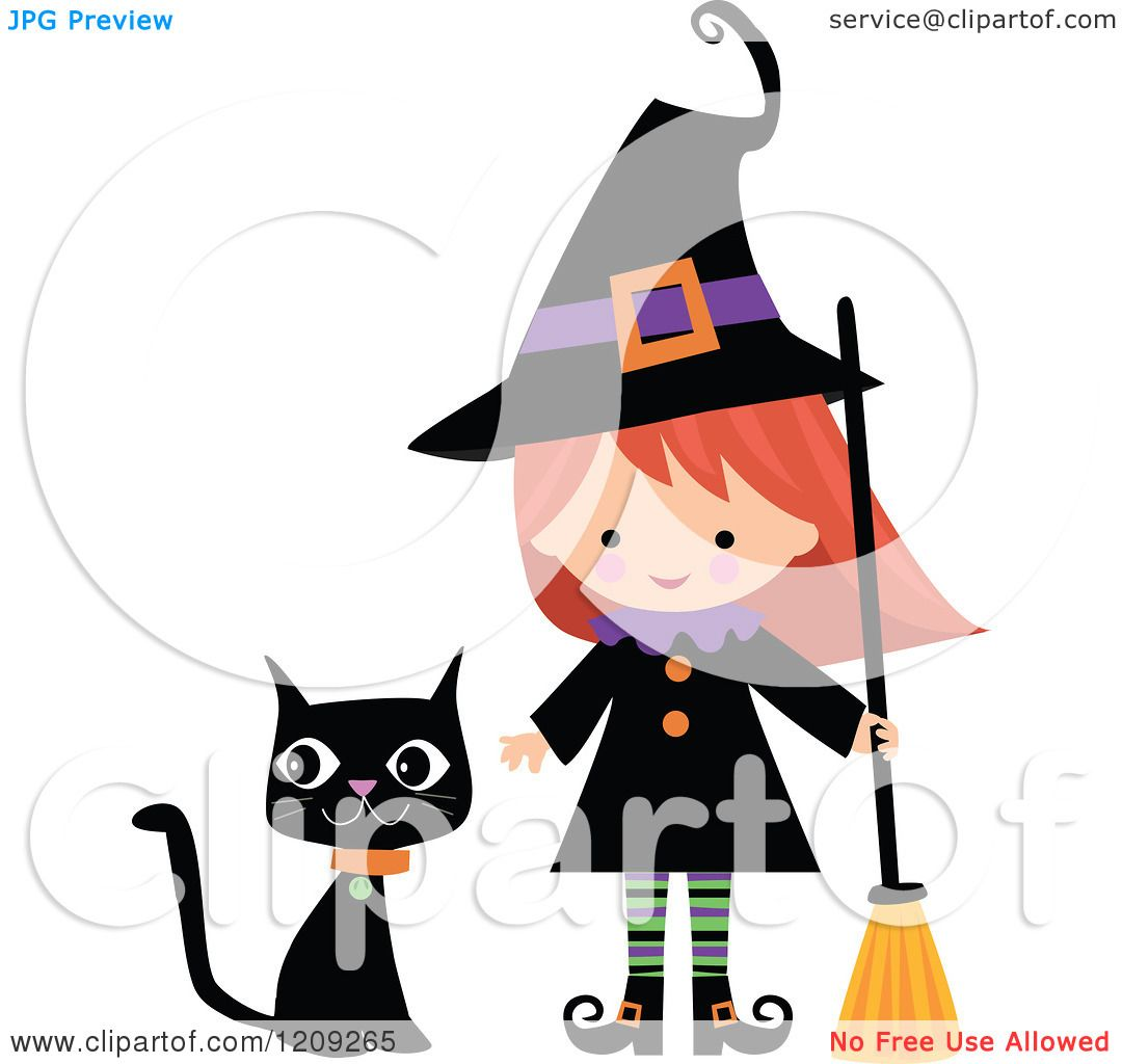 cartoon of a cute halloween witch with a broom and black cat royalty free vector clipart by peachidesigns - Halloween Witch Cartoon