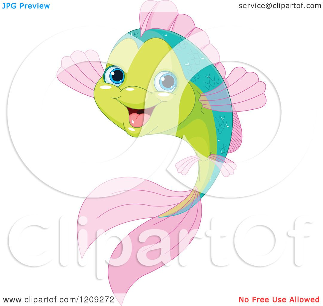 cartoon of a cute happy green and pink fish royalty free vector